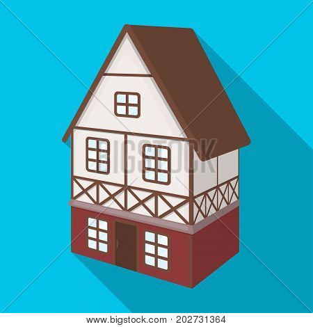 Stylized English cottage. Architectural cottage building single icon in flat style vector symbol stock illustration .