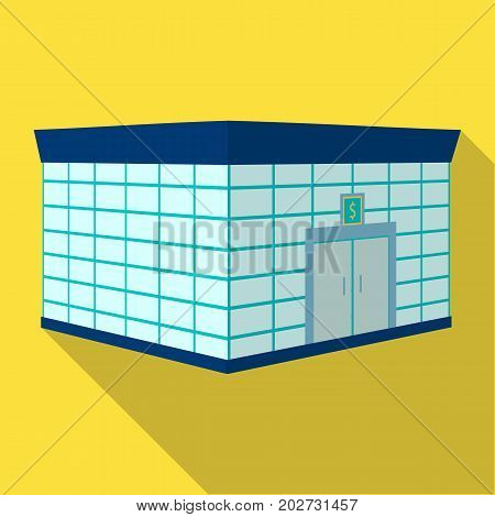Office premises of the bank. Central bank single icon in flat style vector symbol stock illustration .