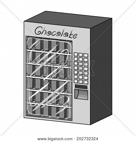 A terminal with different kinds of chocolate. Terminals single icon in monochrome style isometric vector symbol stock illustration .