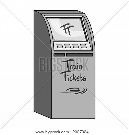 Terminal for train tickets. Terminals single icon in monochrome style isometric vector symbol stock illustration .