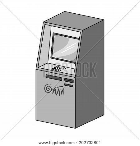 Terminal, ATM for receiving cash. Terminals single icon in monochrome style isometric vector symbol stock illustration .