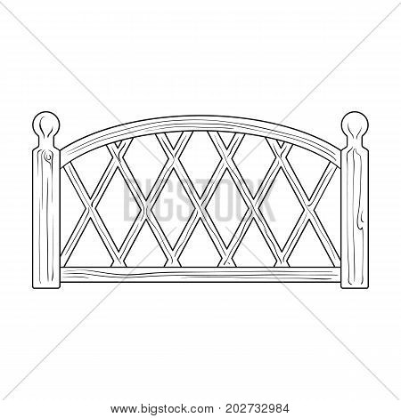 A wooden fence. A different fence single icon in outline style vector symbol stock illustration .
