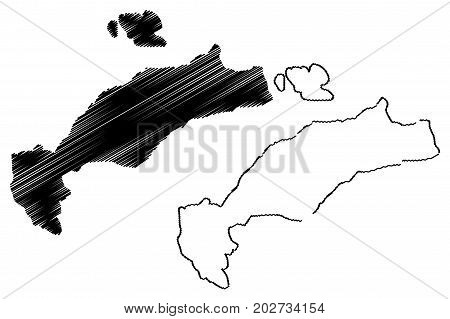 Greek Island of Kos map vector illustration , scribble sketch Kos island