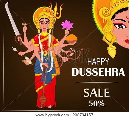 Happy Dussehra vector illustration for sale. Maa Durga for Hindu Festival.