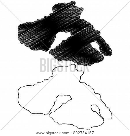Greek Island of Lesbos (Lesvos) map vector illustration , scribble sketch Lesbos island