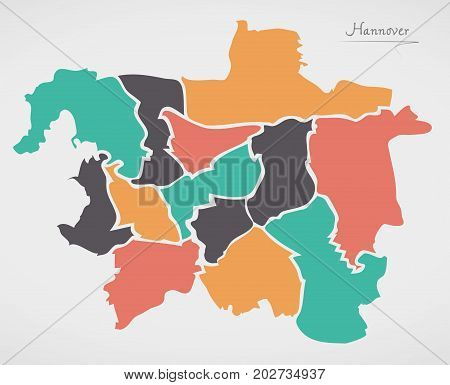 Hannover Map With Boroughs And Modern Round Shapes
