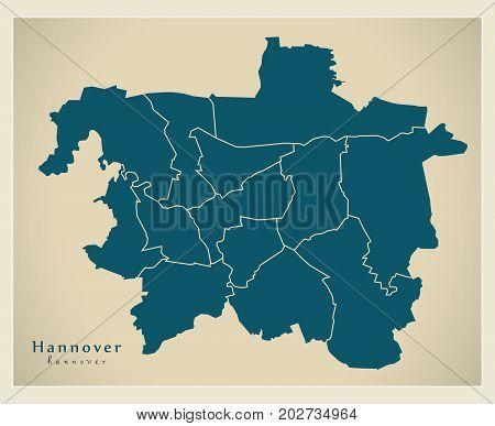 Modern City Map - Hannover City Of Germany With Boroughs De