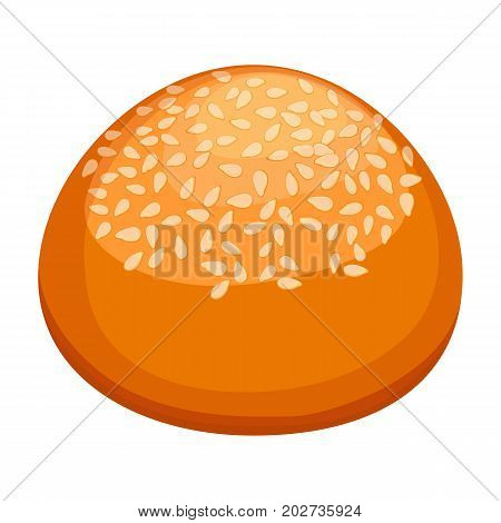 Round fresh-baked bun covered in sesame with golden-brown crust and soft inside realistic style isolated vector illustration on white background