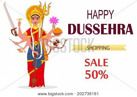 Happy Dussehra vector illustration for sale shopping. Maa Durga on white background for Hindu Festival.