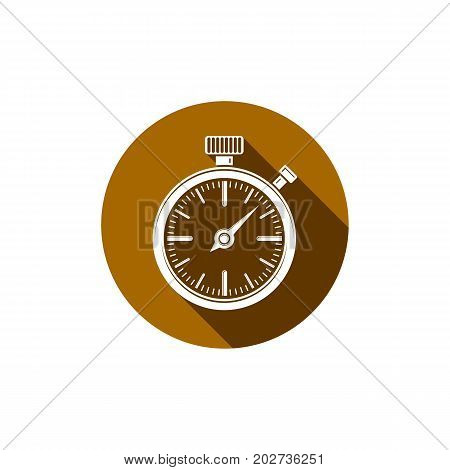 Old-fashioned pocket watch graphic illustration. Simple timer classic stopwatch. Time management symbolic icon.