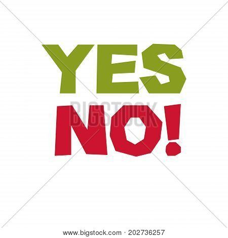 Yes no checkmark. Vector voting sign choice metaphor isolated on white isolated on white.