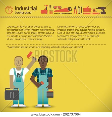 Industrial workmen with professional tools and set of instruments icons on yellow background vector illustration