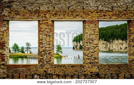 View of Snail Shell Harbor from Fayette Historic Townsite in Michigan