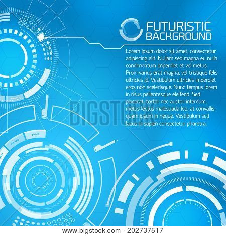 Modern virtual technology background with stamps of touch screen interface circle elements and selector buttons with editable text on blue background vector illustration