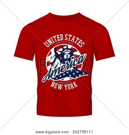 Statue vector logo concept isolated on red t-shirt. USA street wear superior sport vintage badge design.  Premium quality United States of America emblem t-shirt tee print illustration.