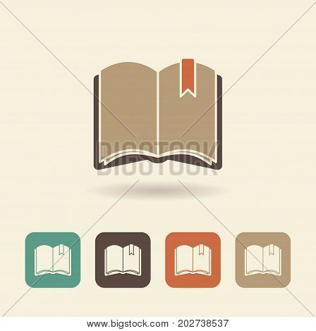 Simple flat icon of an open book. Vector logo