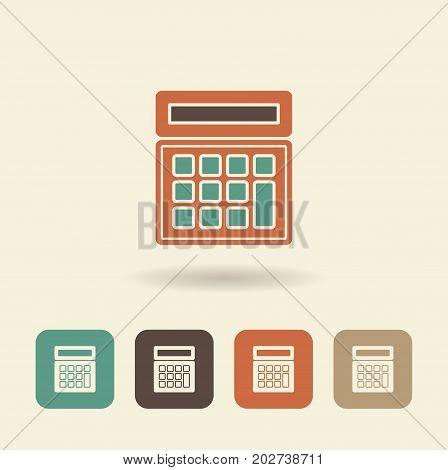 Simple flat vector icon of calculator. Vector Illustration