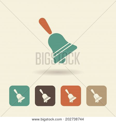 Simple flat icon of a bell. Vector logo