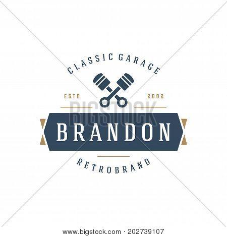Car auto service logo template vector design element vintage style for label or badge retro illustration. Pistons silhouette.