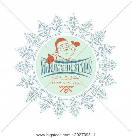 Christmas emblem with snowflake and Santa Claus with arms apart