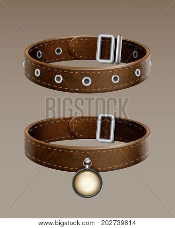 Realistic vector brown leather dog collar for pets isolated on gradient background