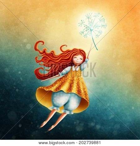 Little fairy girl flying in the sky with dandelion