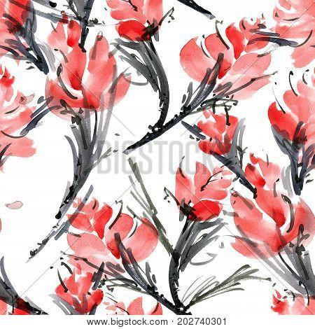 Watercolor and ink illustration of flower. Sumi-e u-sin painting. Seamless pattern background.