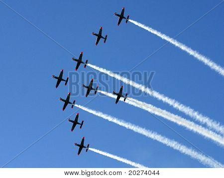 Synchronized team flight- flying in formations