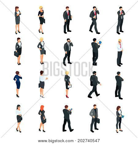 Set of isometric businessmen isolated on white background. Set of 3d businessmen and business women front and back view. Isometric people in business suits in different poses. Vector illustration.