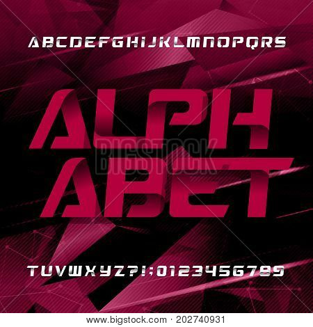 Abstract futuristic alphabet typeface. Oblique type letters and numbers on a dark geometric background. Vector font for your design.
