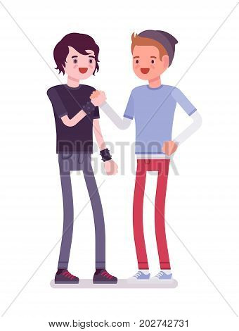 Young men greeting hands holding. Psychological support and help, feel comfortable. Youth community and volunteer team concept. Vector flat style cartoon illustration, isolated, white background