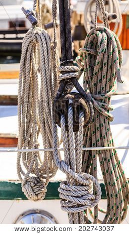 Ropes rigging and details of equipment on an old sailboat