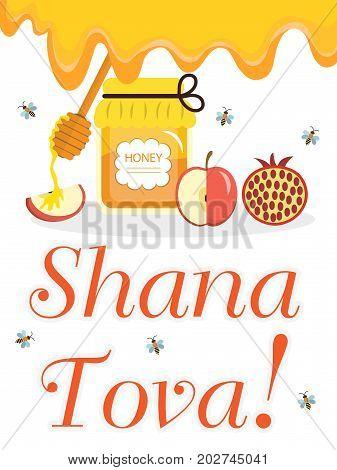 Greeting card for the Jewish New Year Rosh Hashanah, Shana Tova. Honey and apples, pomegranates. Vector illustration