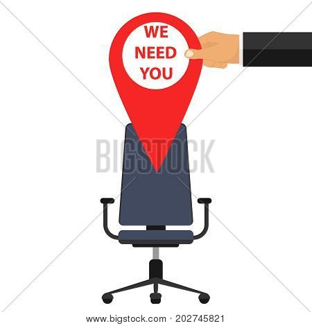 The place is vacant the banner you need us free vacancy. Flat design vector illustration vector.