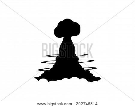 Nuclear Explosion Contour On A White Background. Poster Vector Illustration