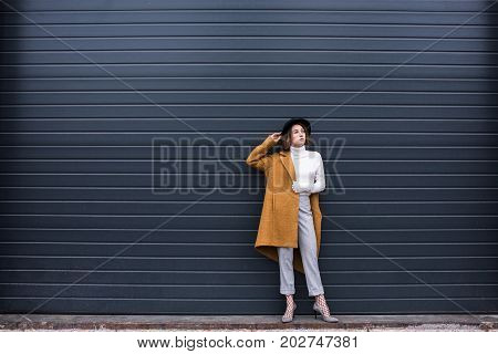 Stylish Woman In Jacket And Black Hat