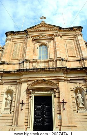 Front view of the Parish church of our lady of sorrows Bugibba Malta Europe.