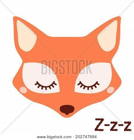 Cute sleepy fox. Vector animal on white background