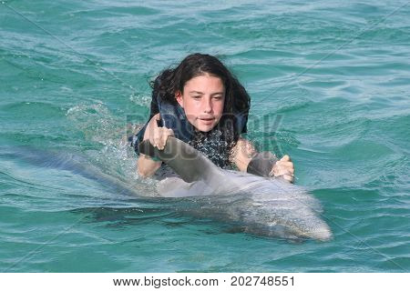 Young girl riding a dolphin laughing and swimming with dolphins in the blue swimming pool on a bright sunny day