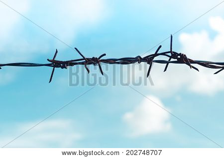 Copy Space Of Freedom Concept. Old Iron Barbed Wire Fence On Blue Sky And White Clouds Abstract Back