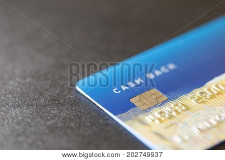 Closed up of credit card on dark background