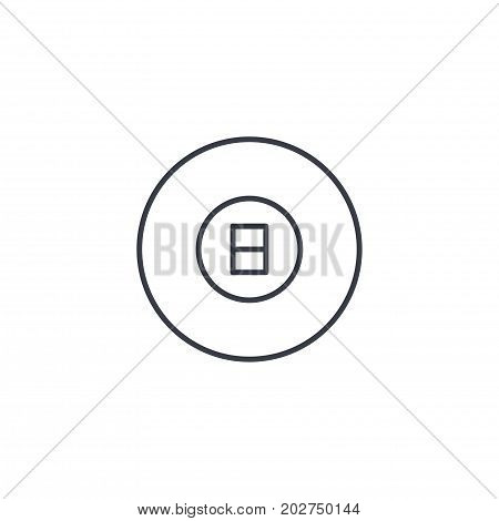 Pool 8 ball, Billiard symbol thin line icon. Linear vector illustration. Pictogram isolated on white background
