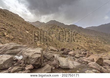 Toubkal national park the peak whit 4167m is the highest in the Atlas mountains and North Africa trekking trail panoramic view. Morocco