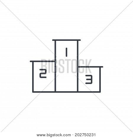 Empty Winners Podium, First, Second, Third Place, Award Ceremony thin line icon. Linear vector illustration. Pictogram isolated on white background