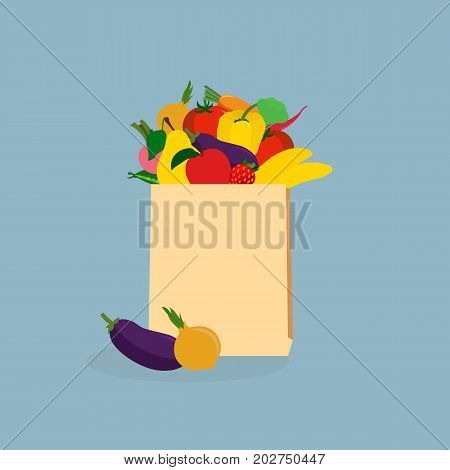 Paper bag with fresh food. Market bag full of products. Grocery bag with vegetables and fruits vector illustration isolated. Concept shopping in a market. Shopping at the grocery store.