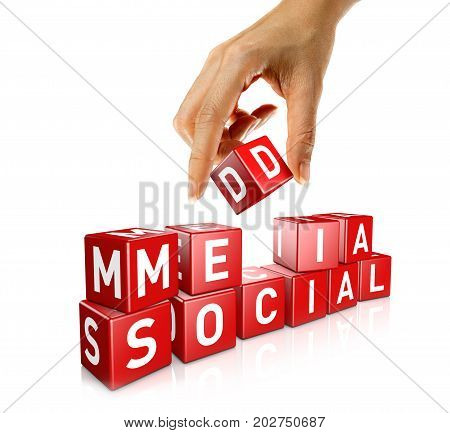 A woman's hand places a cube to form the word social media. Isolated on a white background