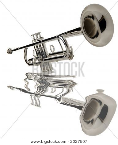 silver trumpet on white close up shoot poster