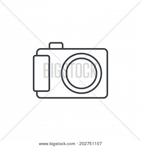 Digital photo camera thin line icon. Linear vector illustration. Pictogram isolated on white background