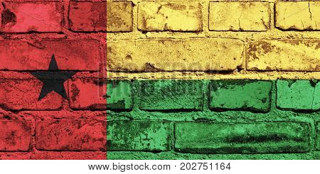 Guinea-Bissau flag painted on the brick wall