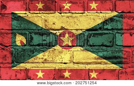 Grenada flag painted on the brick wall